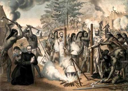 The Jesuits martyrs of Canada: St. Jean de la Lande, St. Isaac Jogues, St. Jean de Brébeuf, St. Charles Garnier, St. René Goupil, St. Gabriel Lalemant, St. Noël Chabanel, St. Antoine Daniel.