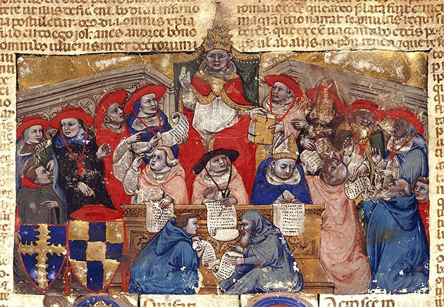 Pope Boniface VIII in Anagni with Cardinals 1303_Bologna Manuscript