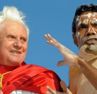 Benedict XVI receives an aboriginal shaman blessing during his 2008 Apostolic Journey to Australia