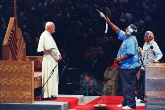 John Paul II undergoes a pagan rite of blessing and incense during his 1987 Papal Tour of the United States